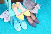 Shoe shelf with women shoes — Stock Photo