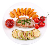 Grilled steak and grilled vegetables on plate, isolated on white — Stock Photo