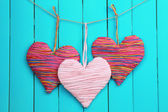 Decorative heart on wooden background — Stock Photo