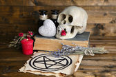 Conceptual photo of love magic. Composition with skull, dried herbs and candle on  dark wooden background — Stock Photo