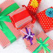 Many colorful presents with luxury ribbons isolated on white background — Stock Photo #45630613