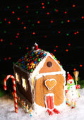 Gingerbread house on dark background — Stock Photo