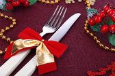 Prachtige kerstmis instelling close-up — Stockfoto