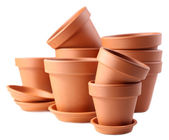 Clay flower pots, isolated on white  — Stock Photo