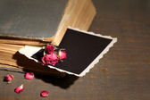 Old book with blank photo paper and beautiful pink dried roses on wooden background — 图库照片