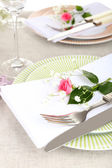 Table setting with spring flowers close up — Stok fotoğraf