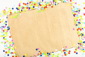 Blank paper with confetti around — Stock Photo