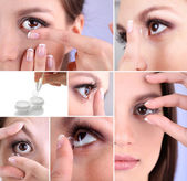 Contact lens collage — Stock fotografie