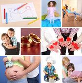 Happy family collage — Stock Photo