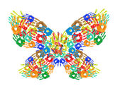 Colorful handprints in shape of butterfly isolated on white — Stockfoto