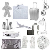 Collage of different objects in shades of gray — Stock Photo