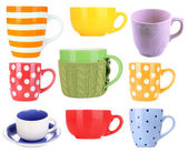 Collage of colorful mugs isolated on white — Stock Photo