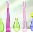 Different decorative vases on shelf on light background — Stock Photo #45904867