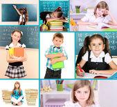 Collage of school children close-up — Stock Photo