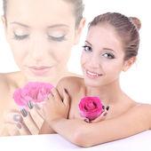 Beautiful girl with rose close-up — Stock Photo