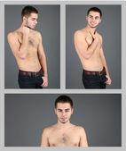 Snapshot of model. Handsome man on grey background — Stock Photo