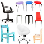 Collage of different chairs isolated on white — Stock Photo