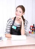 Beautiful girl manicurist in beauty salon — Stock Photo