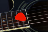 Colourful plectrum on guitar, close up — Stock Photo