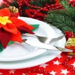 Christmas table setting with festive decorations close up — Stock Photo #46189481