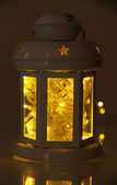Decorative glowing lantern at night — 图库照片