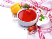 Sopa de tomate e legumes, isolados no branco — Fotografia Stock
