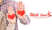 Hands with hearts — Stock Photo