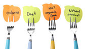 Note papers with messages  attached to forks, isolated on white  — Stock Photo