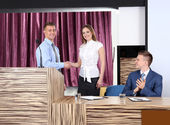 Business people at tribune in conference room — Stock Photo