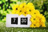 Digital alarm clock on green grass, on nature background — Stock Photo