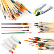 Collage of paint brushes with acrylic paint in tubes isolated on white — Stock Photo #46301829