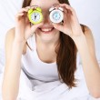 Woman with alarm clocks — Stock Photo #46303267