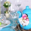 Beautiful holiday Easter table setting in blue tones, on light background  — Stock Photo #46304221