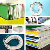 Collage of colorful magazines close-up — Stock Photo