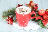 Hot chocolate with cream — Stock Photo