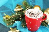 Hot chocolate on Christmas background — Stock Photo