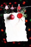 Blank sheet with Christmas decor — Stock Photo