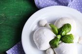 Tasty mozzarella cheese with basil on plate  on wooden background — Stok fotoğraf