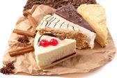 Assortment of pieces of cake, close up — Stock Photo