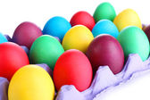 Colorful Easter eggs in tray close up — Stock Photo