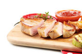 Grilled steak with tomato sauce on wooden board, isolated on white — Stock Photo