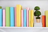 Books on shelf close-up — Stock Photo