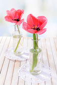 Beautiful tulips in bucket in vase on table on light background — Stock Photo
