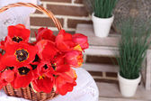 Bouquet of colorful tulips in wicker basket, on chair, on home interior background — 图库照片