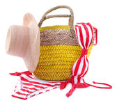 Wicker bag and swimsuit — Stockfoto