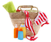 Wicker bag and swimsuit — Stock Photo
