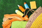 Wicker bag with colorful scarf — Stock Photo
