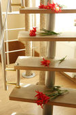 Red tulips on wooden ladder — Stock Photo