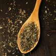 Spice greens in spoon on wooden background — Stock Photo #46315397