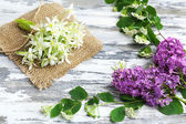 Beautiful spring flowers on wooden table, close up — Stock Photo